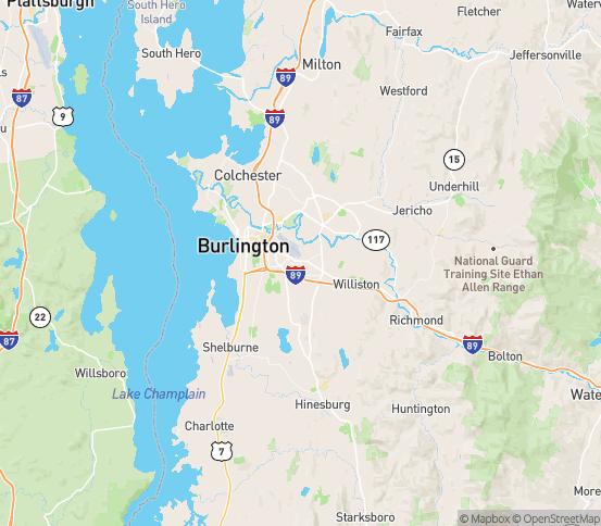 Map of South Burlington, VT