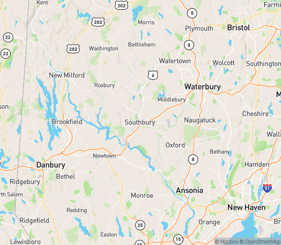 Map of Southbury, CT