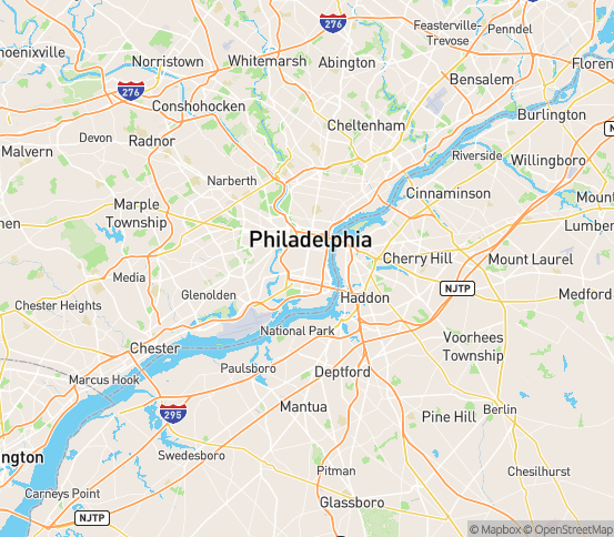 Map of Philadelphia, PA