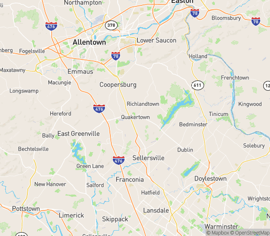 Map of Quakertown, PA