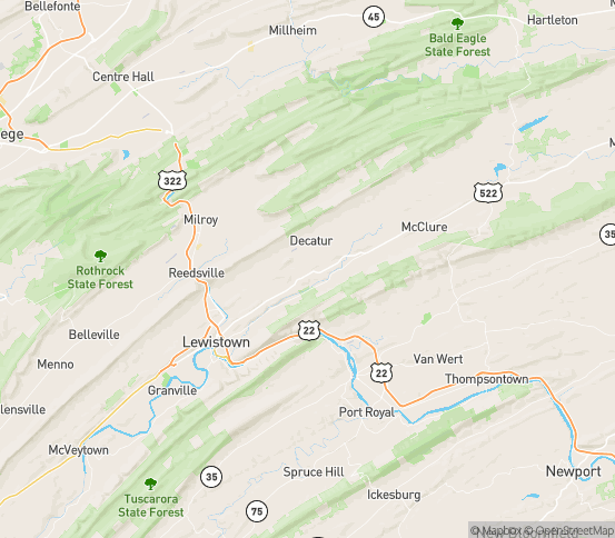 Map of Milroy, PA