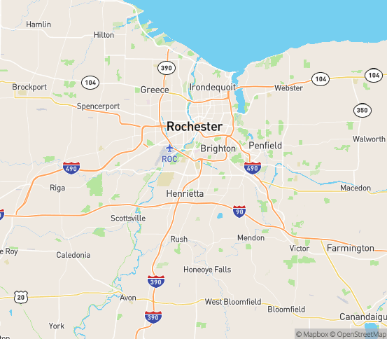 Map of Rochester, NY