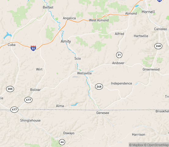 Map of Wellsville, NY
