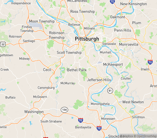 Map of Bethel Park, PA