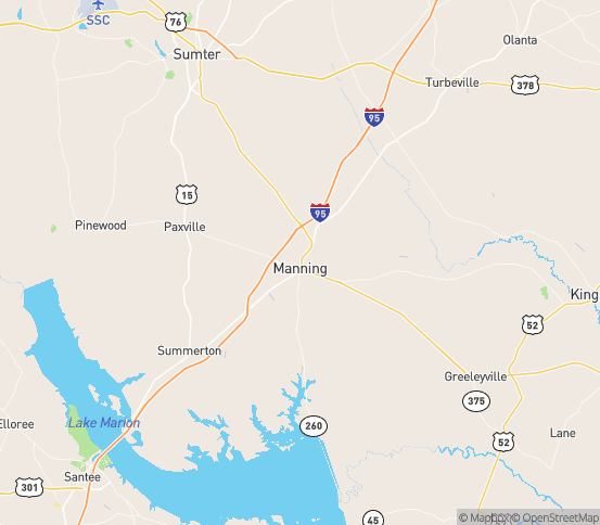 Map of Manning, SC