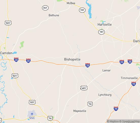 Map of Bishopville, SC