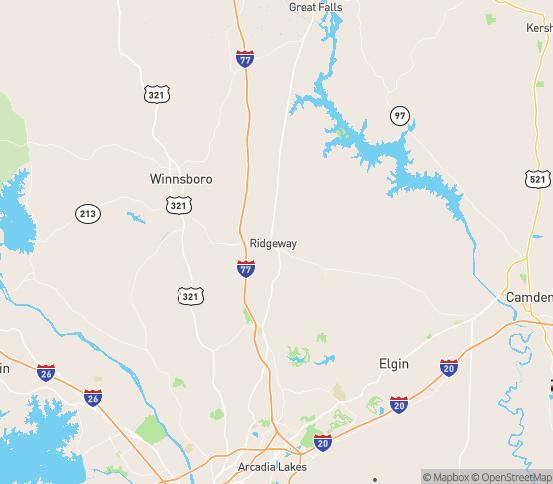 Map of Ridgeway, SC