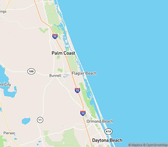 Map of Flagler Beach, FL