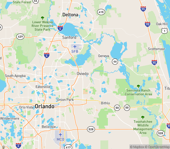 Map of Oviedo, FL