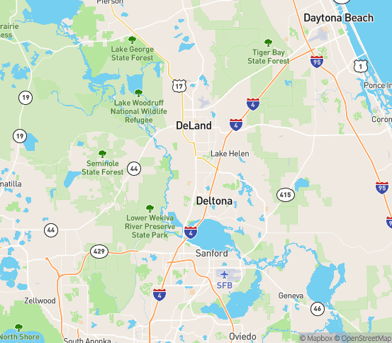 Map of Orange City, FL