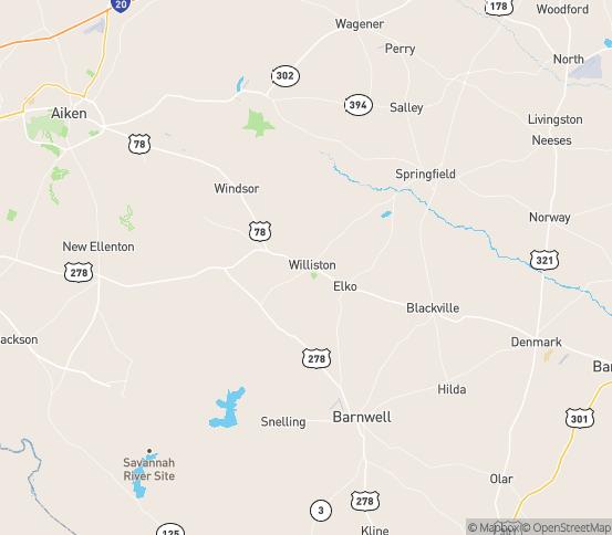 Map of Williston, SC