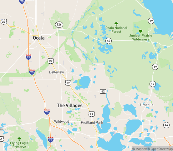 Map of Oklawaha, FL
