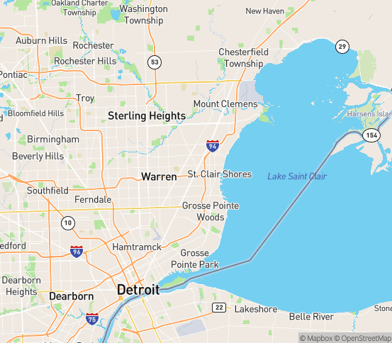 Map of Roseville, MI