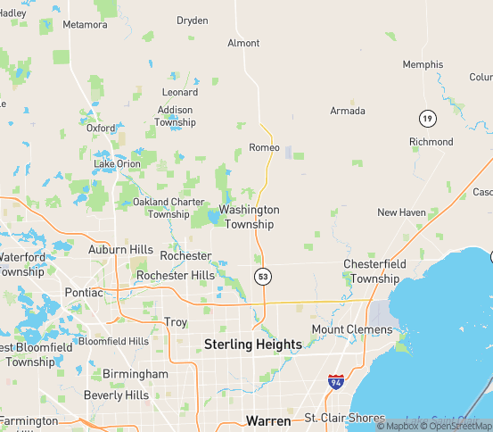 Map of Washington, MI
