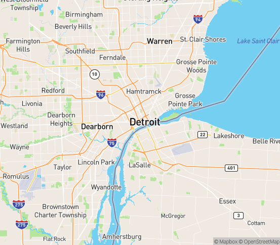 Map of Detroit, MI