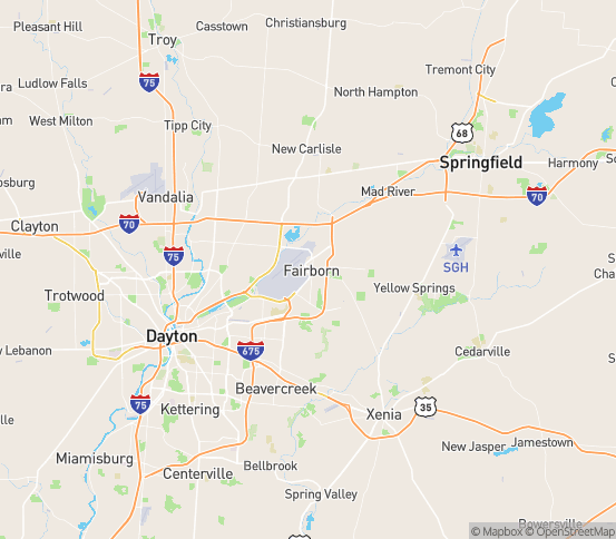 Map of Fairborn, OH