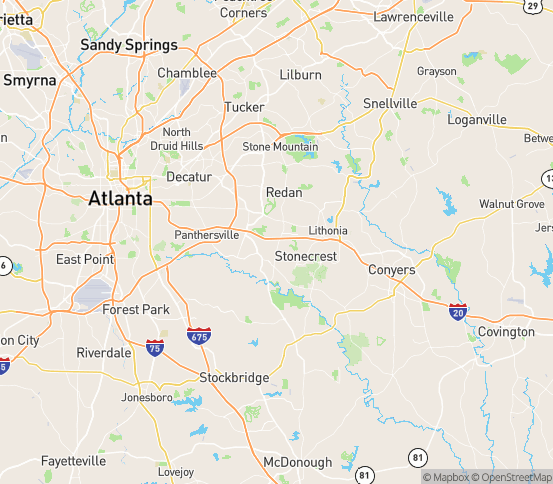 Map of Lithonia, GA