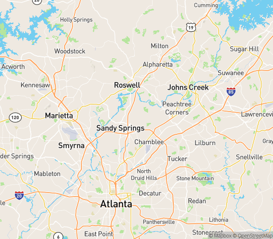 Map of Atlanta, GA