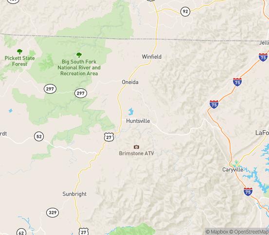 Map of Huntsville, TN