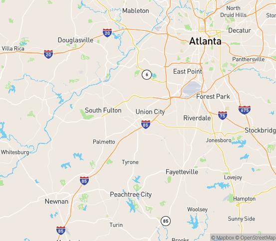 Map of Fairburn, GA