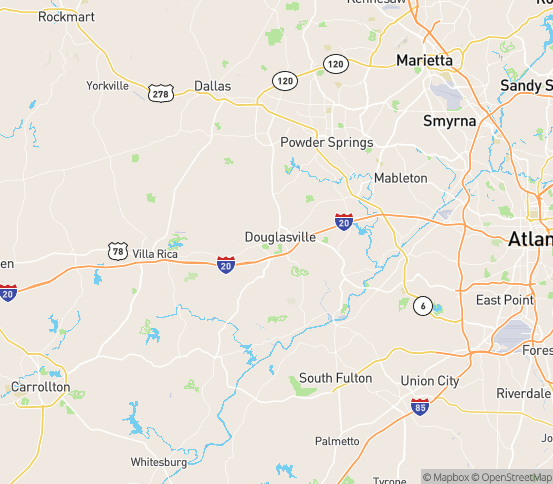Map of Douglasville, GA