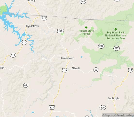 Map of Jamestown, TN