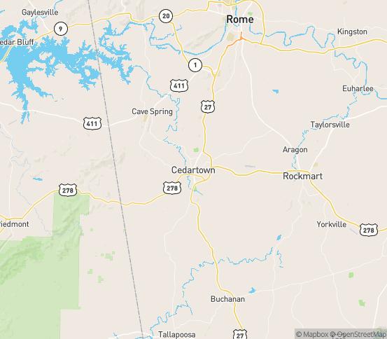Map of Cedartown, GA