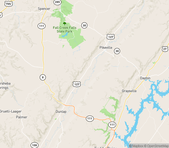 Map of Pikeville, TN