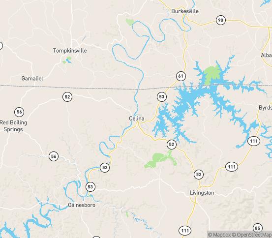 Map of Celina, TN