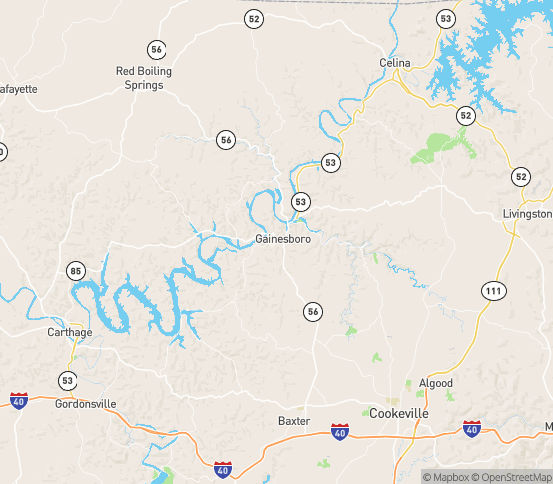 Map of Gainesboro, TN