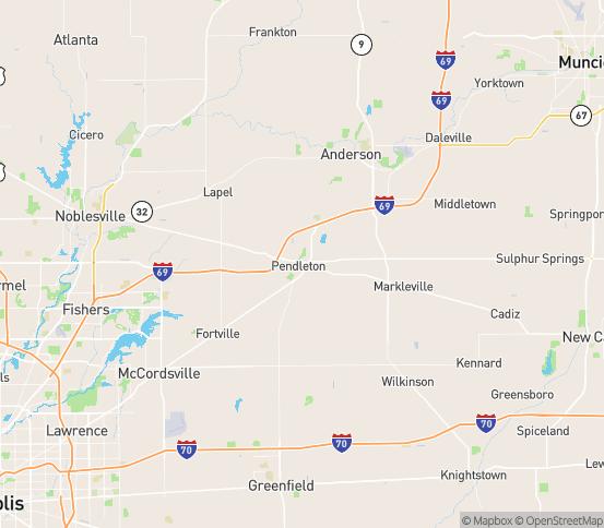 Map of Pendleton, IN