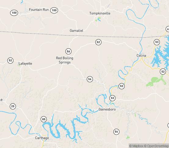Map of Whitleyville, TN