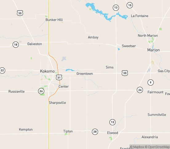 Map of Greentown, IN