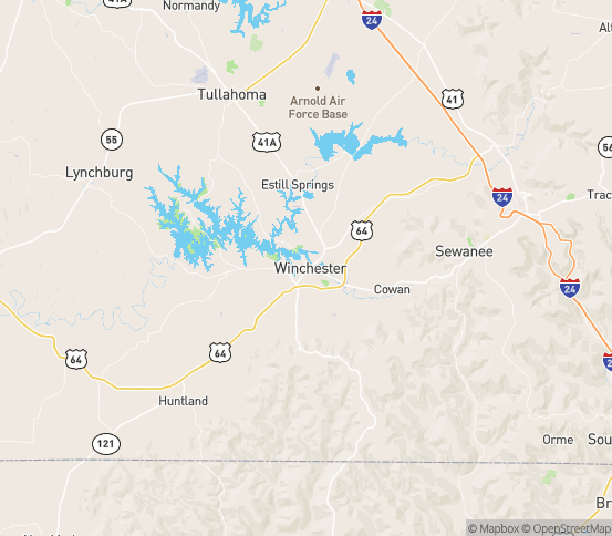 Map of Winchester, TN