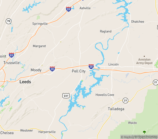 Map of Pell City, AL