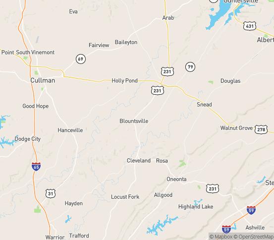 Map of Blountsville, AL