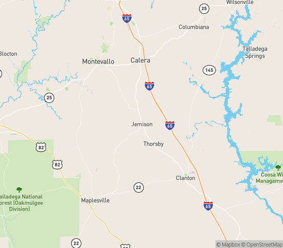 Map of Jemison, AL