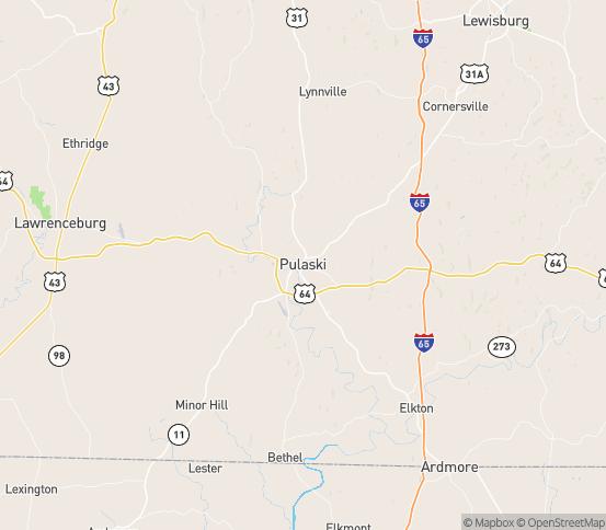 Map of Pulaski, TN