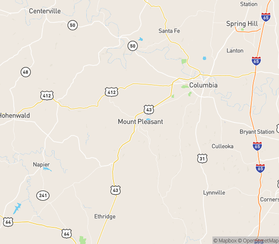 Map of Mount Pleasant, TN