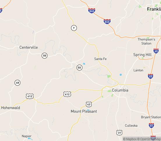 Map of Williamsport, TN