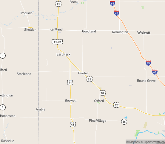 Map of Fowler, IN