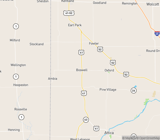 Map of Boswell, IN