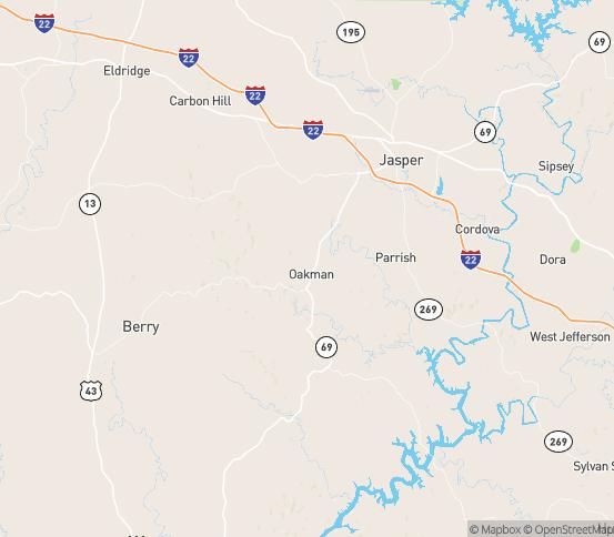 Map of Oakman, AL