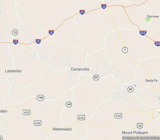Map of Centerville, TN
