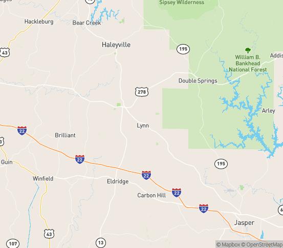 Map of Lynn, AL
