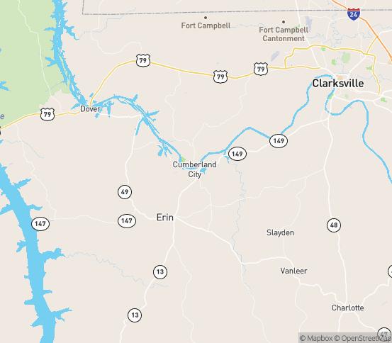Map of Cumberland City, TN