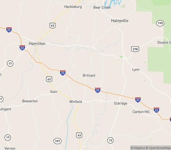 Map of Brilliant, AL