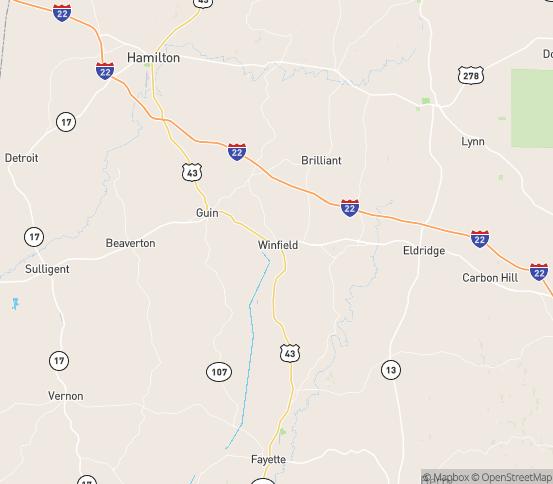 Map of Winfield, AL
