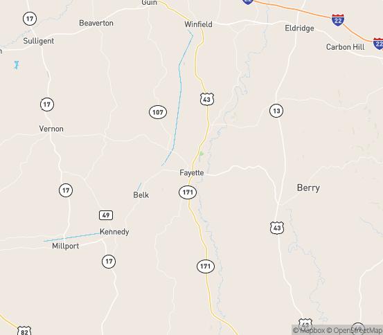 Map of Fayette, AL