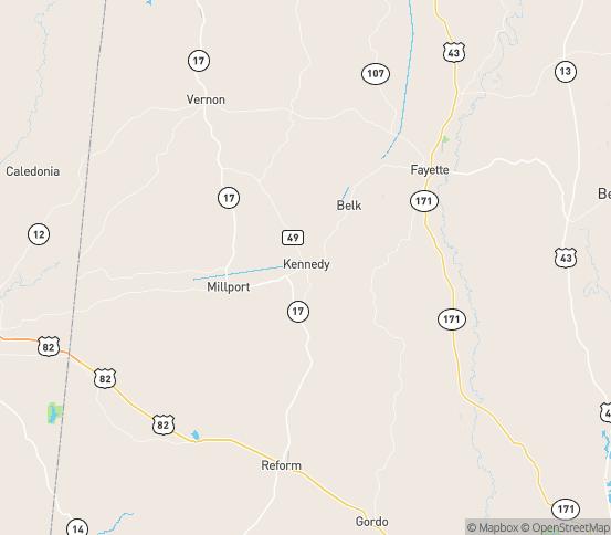 Map of Kennedy, AL